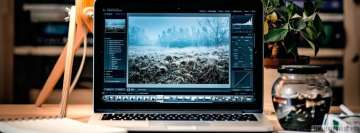 Laptop with Adobe Lightroom on It Facebook cover photo