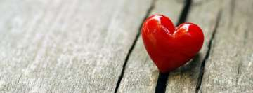 Little Red Heart on Wood Facebook Banner