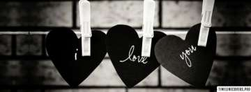 Love Hearts Black and White Facebook Wall Image