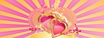 Love Pink Gold Hearts Facebook Cover Photo