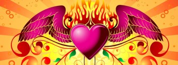 Love Pink Heart with Wings