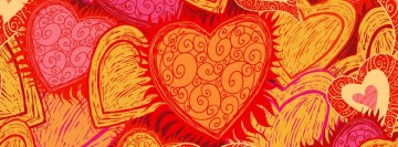 Love Retro Hearts Facebook Cover