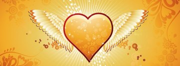 Love Yellow Wings Heart Facebook Banner