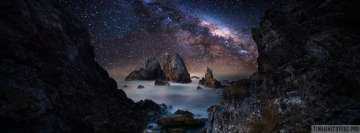 Milky Way Sky Over Rocky Misty Ocean Facebook cover photo