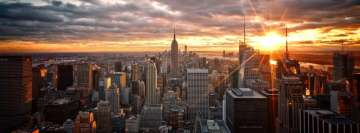 New York Sunbeam Aerial Cityscape Facebook Background TimeLine Cover