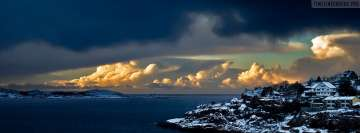 Norway Shore Horizon Clouds Sea Facebook Wall Image