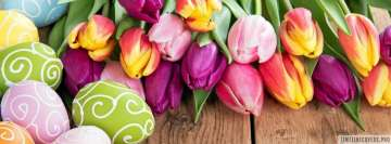 Painted Easter Eggs with Colorful Tulips Facebook Cover