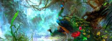 Peacocks in Magical Forest Facebook Cover
