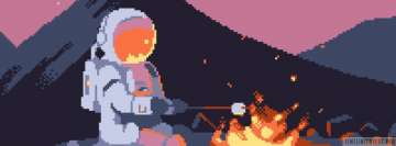 Pixel Art Astronaut at Campfire Facebook Cover Photo