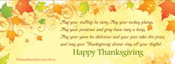 Poem Happy Thanksgiving Gravy Facebook Cover-ups
