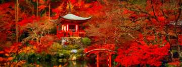 Red Velvet Daigo Ji Japan Kyoto Pagoda and Bridge Autumn Facebook Background