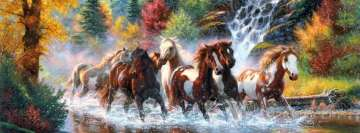 Running Horses Painting Facebook Background