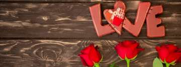 Sawed Love with Roses Facebook Wall Image