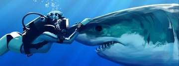 Shark and Diver Facebook Cover Photo