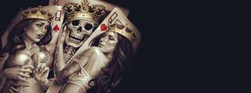 Skull Cards King with His Queens Facebook Cover