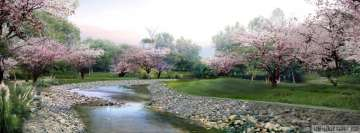 Spring Blossoming Trees by The River Facebook Wall Image