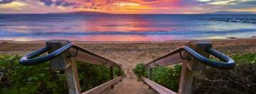 Stairs Down to The Beach at Sunset Facebook Wall Image
