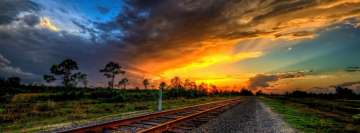Sunset Over The Railroad Tracks Facebook Banner