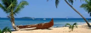 Tropical Beach with Ships Facebook Wall Image