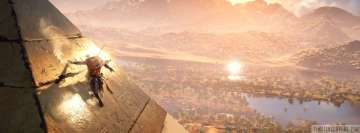 Video Game Assassins Creed Origins Sliding on Pyramids Facebook Wall Image