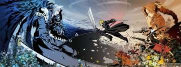 Video Game Final Fantasy The Crazy Angel vs The Revenger and His Friends Facebook Cover Photo