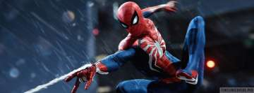 Video Game Spider Man Ps4 in Action Facebook Cover Photo