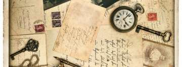 Vintage Old Time Letters Keys and Watches Facebook Cover
