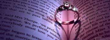 Wedding Ring in a Book Facebook Wall Image