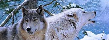 White Wolfs in a Forest Facebook Background