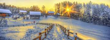 Winter Sunset at Ski Resort Facebook Cover-ups