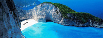 Private beach on Zakynthos, Greece Facebook Cover Photo