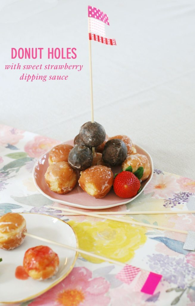 36 Donut Holes with Sweet Strawberry Dipping Sauce - Twin Stripe Blog
