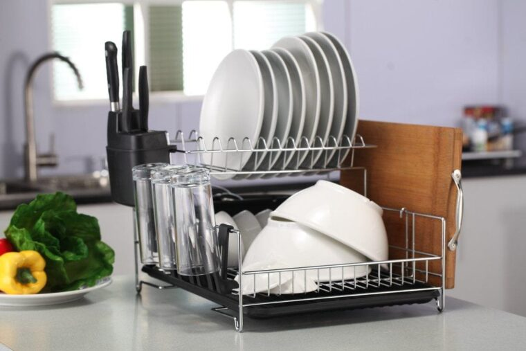 A picture containing indoor, table, kitchen, rack Description automatically generated