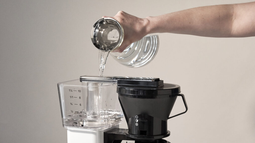 put hot water in a coffee maker