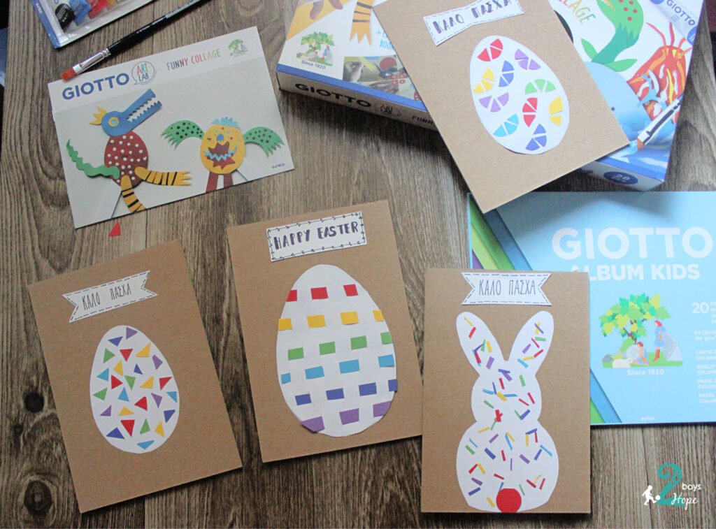 We are preparing Easter Cards with Giotto Art Lab Funny Collage!