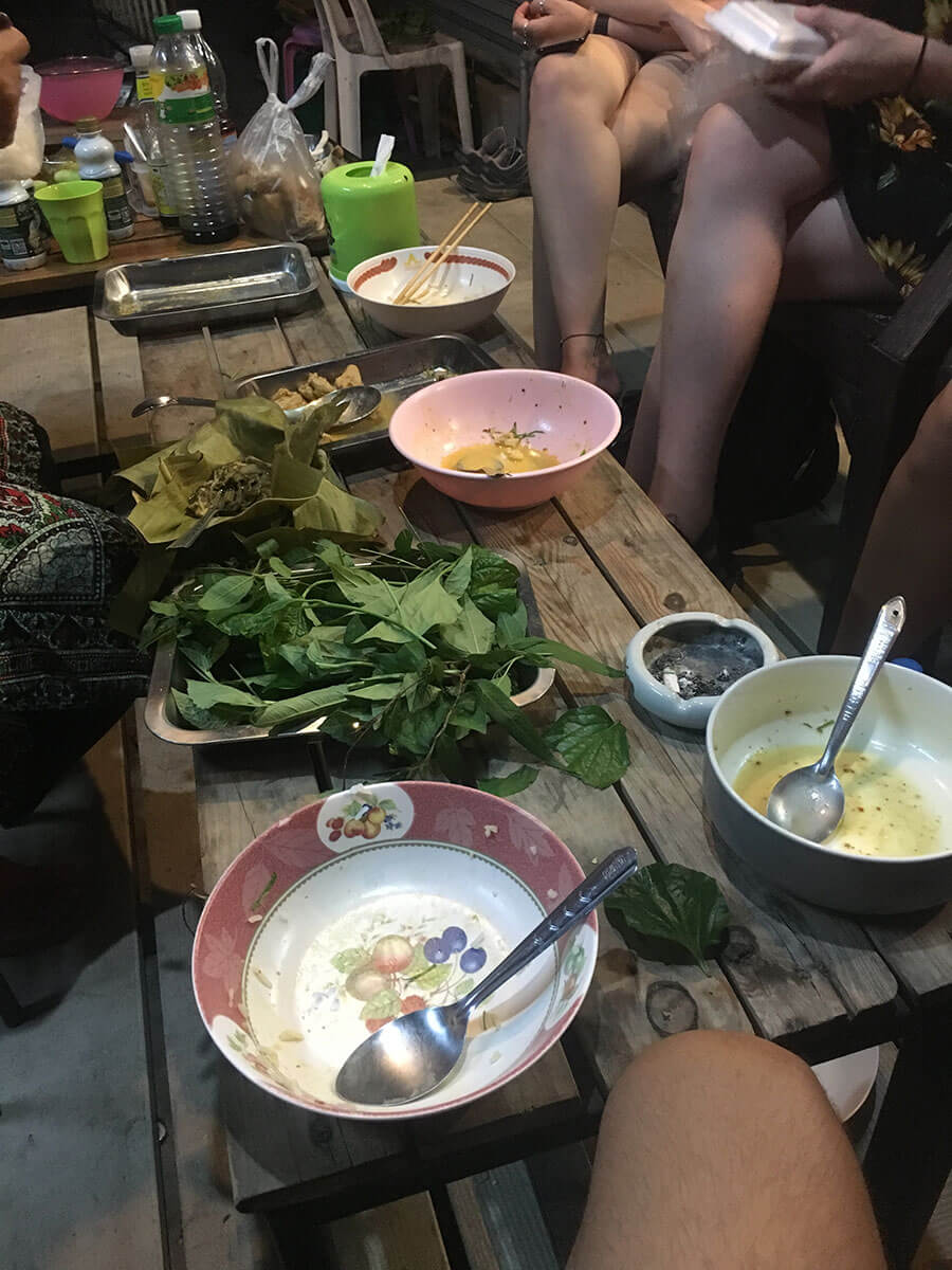 Eating some local food with Mimi in Kanchanaburi