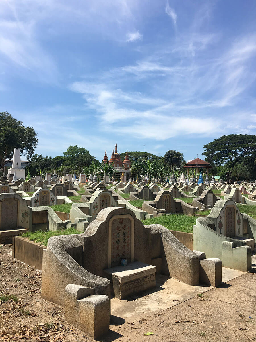 Exploring the war cemetery in Kanchanaburi