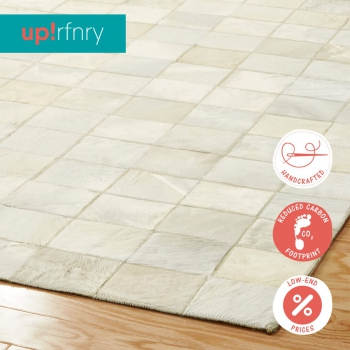 All White Patchwork Rug