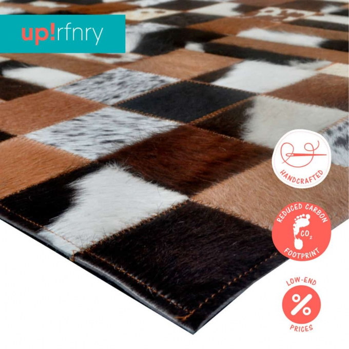 Squares and Stripes Cowhide Rug