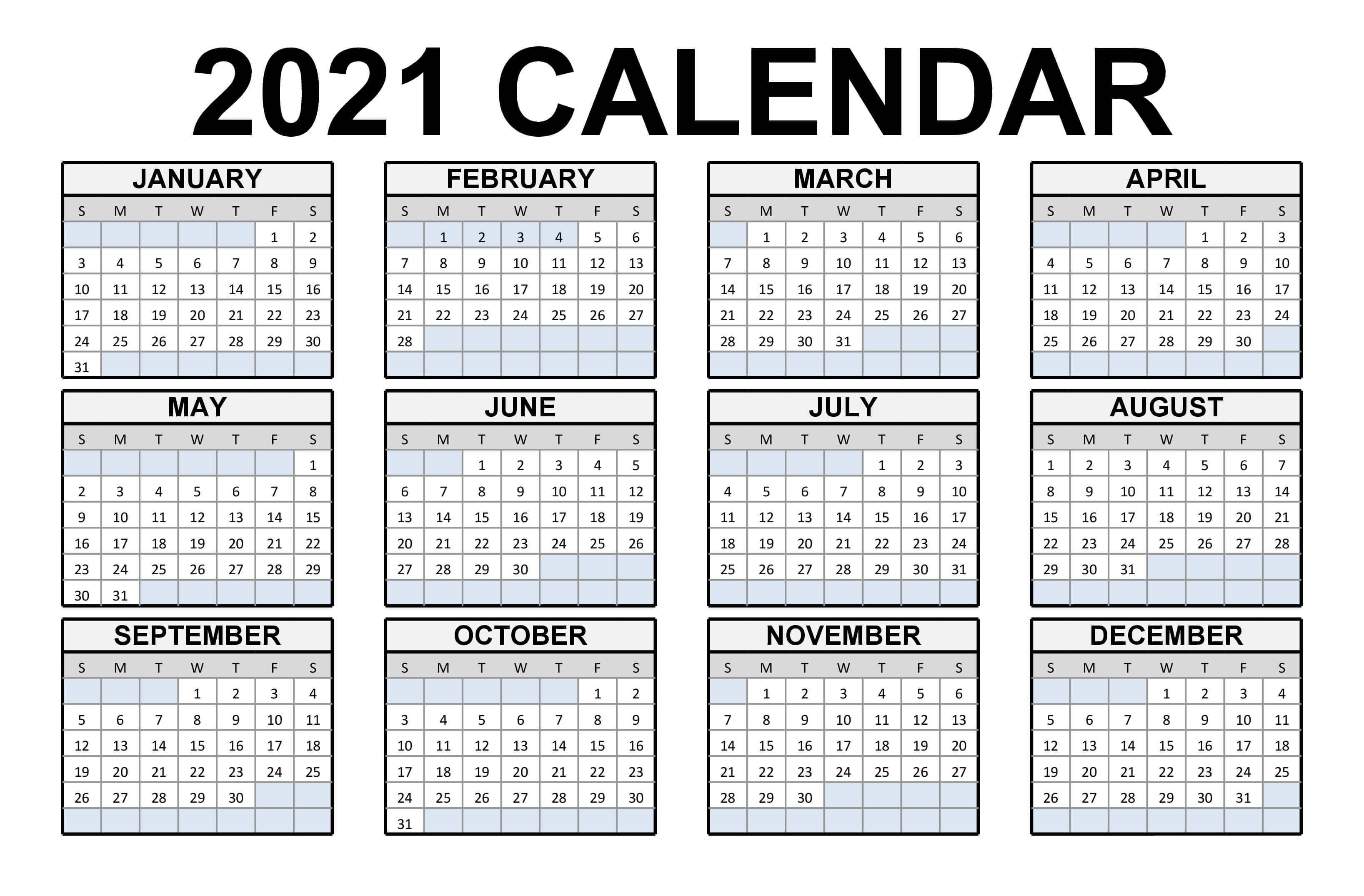 Free Blank Monthly 2021 Printable Calendar Template