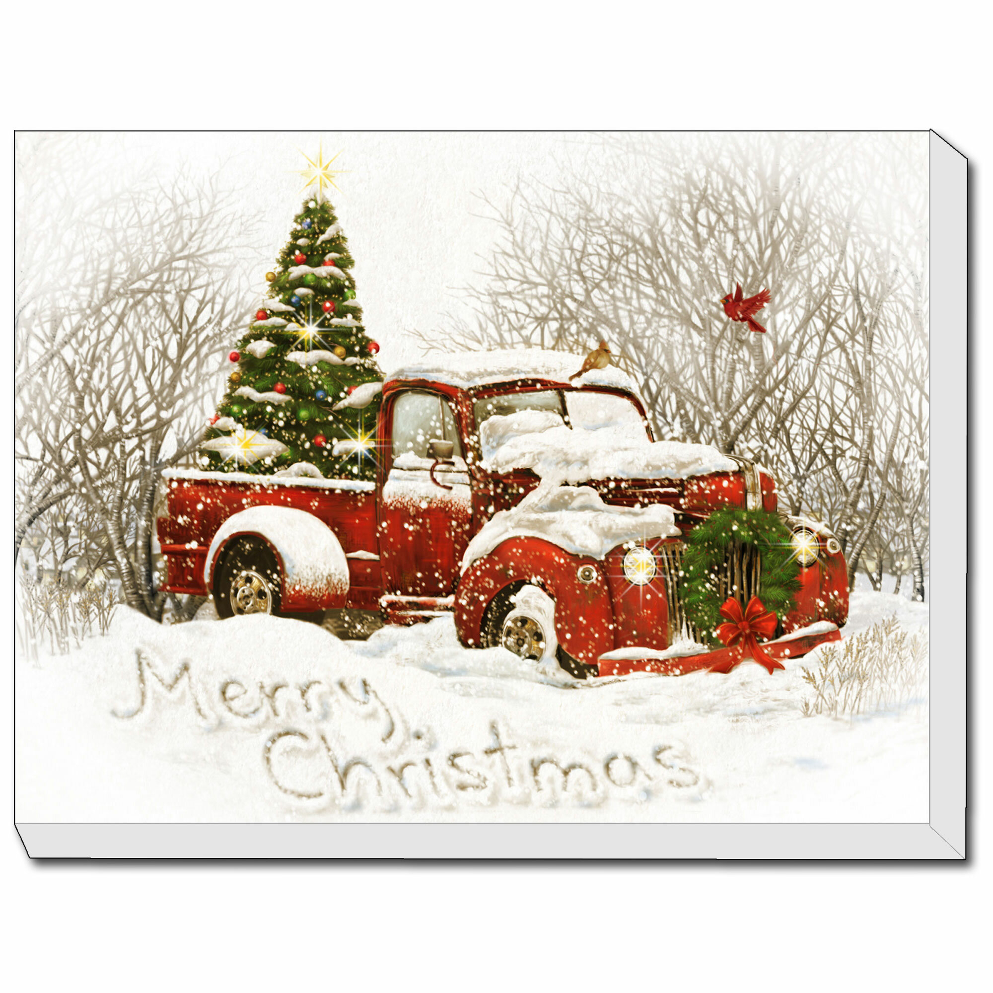 vintage christmas tree truck by opportunities framed acrylic painting print canvas in red white