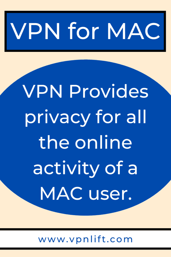 VPN Provides privacy for all the online activity of a MAC user
