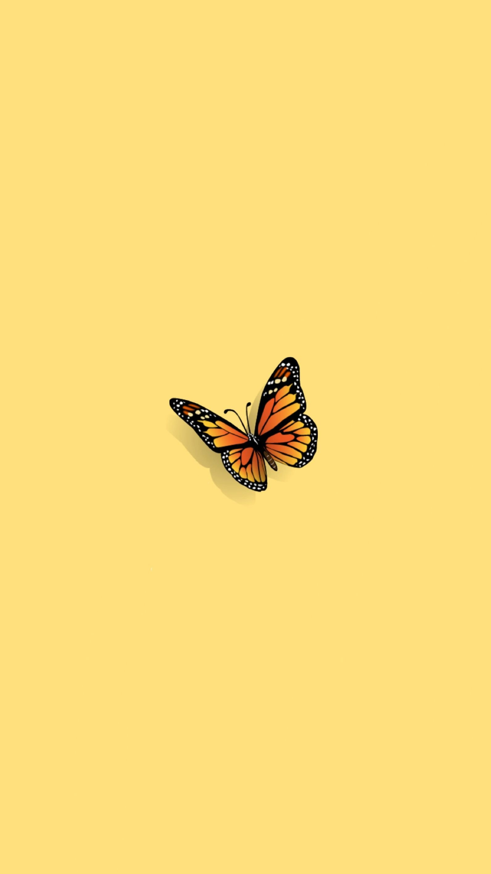 Aesthetic Tumblr Butterfly Yellow Wallpaper