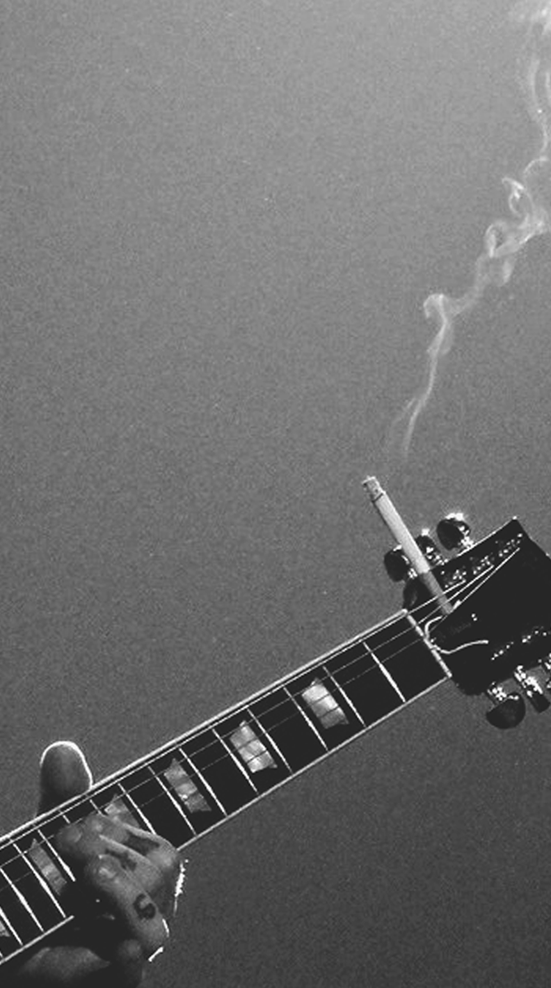Iphone Guitar Black And White Wallpaper