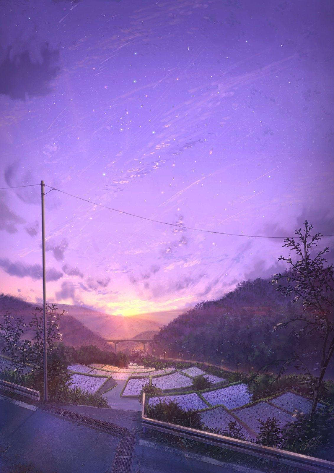 Scenery Anime Sunset Wallpaper