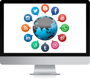 Marketing channels background with computer background