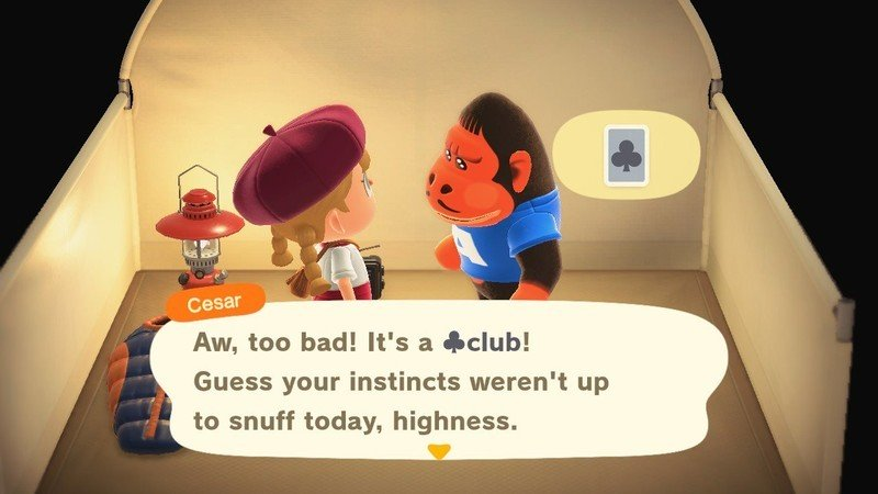 Animal Crossing New Horizons playing a card game with a camper