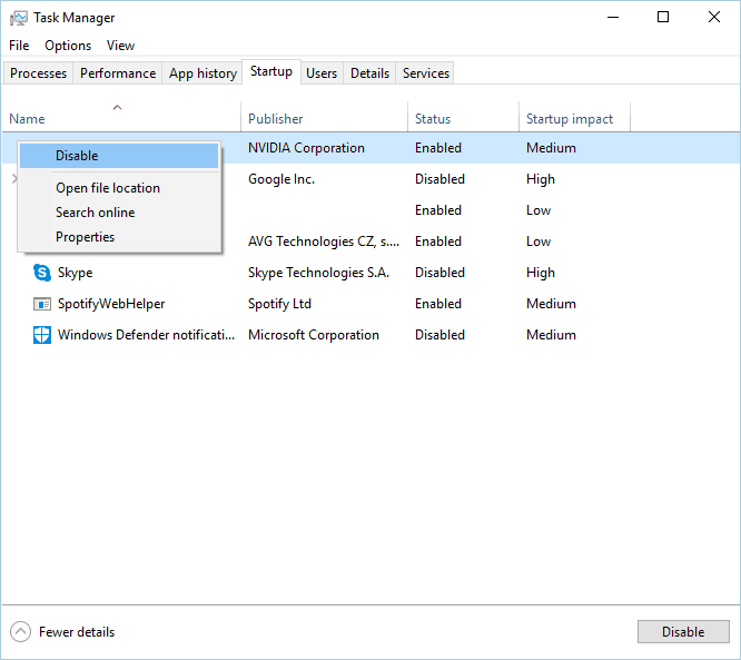 disable startup programs task manager different installation is already in progress