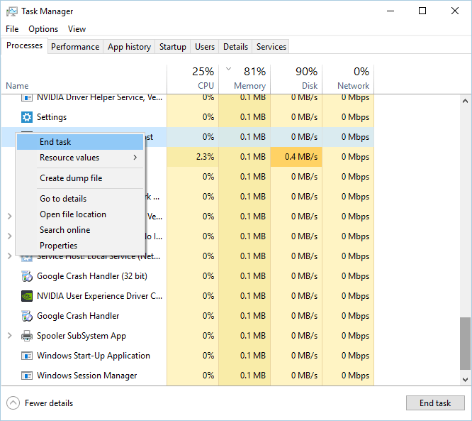 kill Windows Installer process in Task Manager Another installation is already in progress
