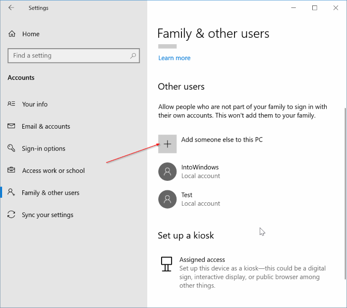 create local account without password in Windows 10 pic1